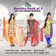 Geetika Pack of 3 Art Silk Dress Material
