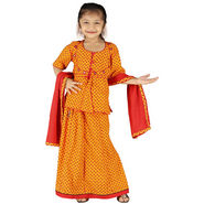 Little India Girls Traditional Sanganeri Red Lehanga Choli - DLI3GED101A