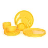 Gluman 24Pcs Microwave Safe Round Dinner Set - Yellow