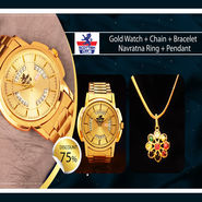 Gold Watch + Chain + Bracelet - Navratna Ring + Pendant