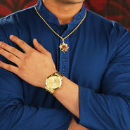 Gold Watch with Navratna Pendant + Free Gold Chain