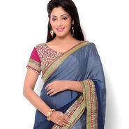 Indian Women Satin Chiffon Printed Saree -HT71016