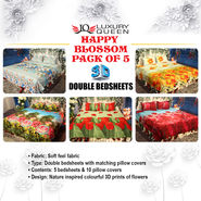 Happy Blossom Pack of 5 - 3D Double Bedsheets (5BS19)