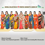 Heeral Collection of 9 Printed Georgette Sarees by Pakhi (9G6)