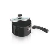 Vinod Cookware Black Pearl 16CM Hard Anodised Induction Friendly Saucepan with Glass Lid IHASPC-16