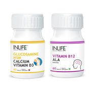 INLIFE Nerve Health Combo PackOf Glucosamine, MSM, Calcium, D3, Vitamin B12 & ALA