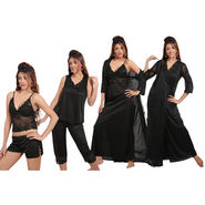 Ishin Satin 6 Piece Nightwear - Black