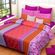 IWS Cotton Printed Double Bedsheet with 2 Pillow Covers-IWS-CB-1031
