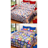 Set of 2 IWS Cotton Printed Double Bedsheet with 4 Pillow Covers-CB1312