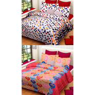Set of 2 IWS Cotton Printed Double Bedsheet with 4 Pillow Covers-CB1326