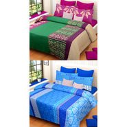 Set of 2 IWS Cotton Printed Double Bedsheet with 4 Pillow Covers-CB1331