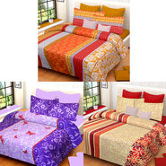 Set of 3 IWS Cotton Printed Double Bedsheet with 6 Pillow Covers multicolour-CB1400