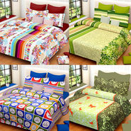 Set of 4 IWS Cotton Printed Double Bedsheet with 8 Pillow Covers-CB1428