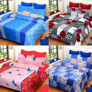 Set of 4 IWS Cotton Printed Double Bedsheet with 8 Pillow Covers-CB1448