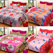 Set of 4 IWS Cotton Printed Double Bedsheet with 8 Pillow Covers-CB1455