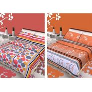 IWS Set of 2 Designer Double Cotton Bedsheet with 4 Pillow cover IWS-CCB-10