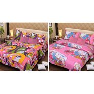IWS Set of 2 Designer Cotton kids Double Bedsheet with 4 Pillow cover IWS-CCB-21