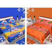 IWS Set of 2 Designer Cotton kids Double Bedsheet with 4 Pillow cover IWS-CCB-43