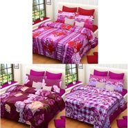 Set of 3 Printed  Double Bedhseets With 6 Pillow Covers-IWS-NPrinted-34