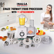 Inalsa Craze 700Watt Food Processor with 11 Attachments