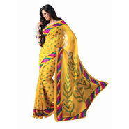 Ishin Printed Bhagalpuri Silk Saree - Yellow