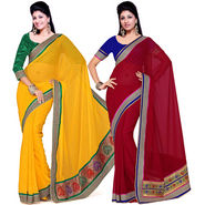 Set of 2 Ishin Heavy Brocade And Zari Border Sarees