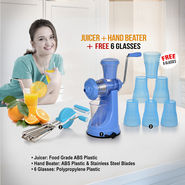 Juicer + Hand Beater + Free 6 Glasses