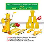 Juicer & Slicer Combo + 6 Glasses + Multi Cutter with Peeler + Spiral Cutter NT7