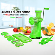 Juicer & Slicer Combo + Free Multi Cutter with Peeler - Green or Pink