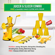 Juicer & Slicer Combo + 6 Glasses + Multi Cutter with Peeler