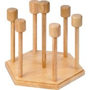 KVG Wooden Glass Stand, White-Brown