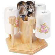 Kvg Wooden Glass And Spoon Stand, White-Brown,