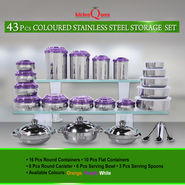 Kitchen Queen 43 Pcs Coloured Stainless Steel Storage Set NT6