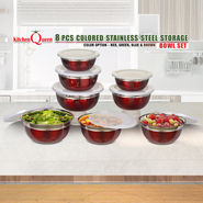 8 Pcs Colored Stainless Steel Storage Bowl Set