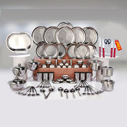 Kitchen Queen 81 Pcs Stainless Steel Dinner Set + Free Knife Set