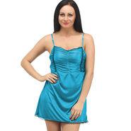 Klamotten Satin Plain Nightwear - Turquoise - YY97