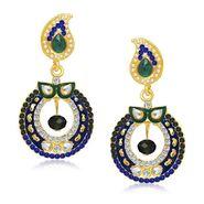 Kriaa Austrian Stone Gold Plated Earrings  - Blue & Green _ 1304616