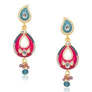 Kriaa Austrian Stone Kundan Earrings - Yellow & Purple _ 1304625