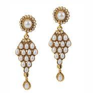 Kriaa Antique Gold Pearl Earrings  - White _ 1304901