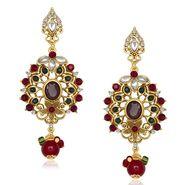 Kriaa Antique Gold Finish Kundan Earrings - Red & Green _ 1305505