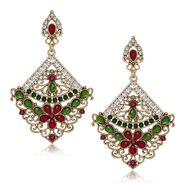 Kriaa Antique Gold Finish Kundan Earrings - Pink & Green _ 1305506