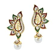 Kriaa Gold Finish Pearl Drop Earrings - Multicolour _ 1305825