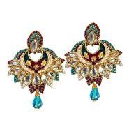 Kriaa Kundan Austrian Stone Meenakari Earrings - Purple & Blue _ 1300120