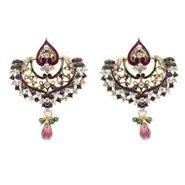 Kriaa Kundan Austrian Stone Earrings - Purple & Green _ 1300323