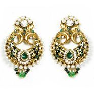 Kriaa Austrian Stone Meenakari Pearl Earrings - Green _ 1300417