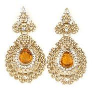 Kriaa Austrian Stone Pearl Earrings - Orange _ 1300634