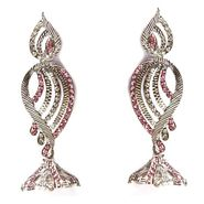 Kriaa Austrain Stone Earrings - Pink _ 1301434