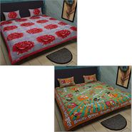 Set of 2 Jaipuri Print Double Bedsheets with 4 Pillow Covers-Kunj2DB-2
