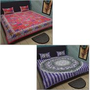 Set of 2 Jaipuri Print Double Bedsheets with 4 Pillow Covers-Kunj2DB-3
