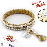 White Pearl & CZ studded Bracelet cum Lumba Rakhi